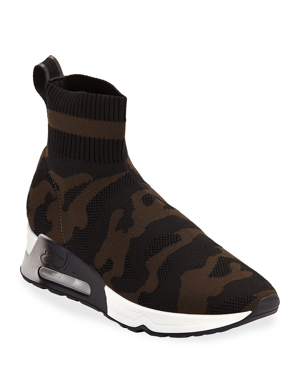 Lulu Camo Knit Runner Sneakers, Black - Military