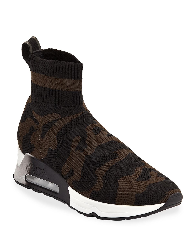 Lulu Camo Knit Runner Sneakers in Black/Military