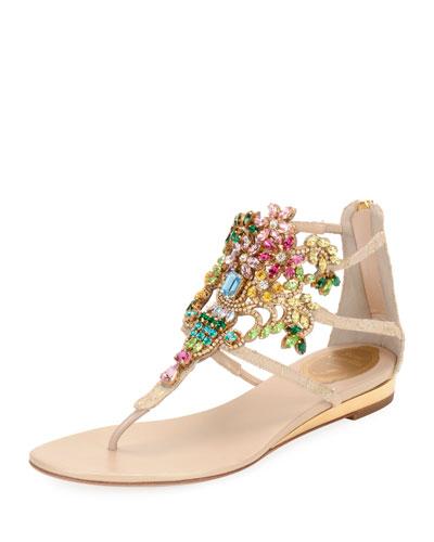 Embellished Lace Leather Sandal