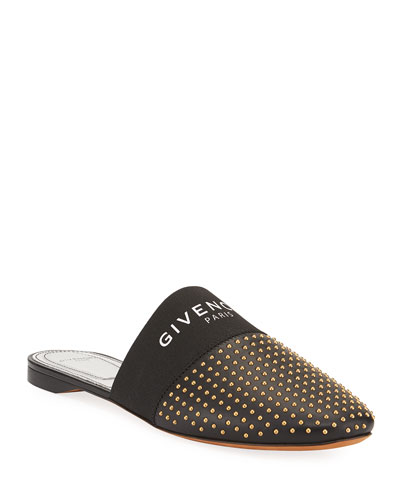 Bedford Flat Studded Leather Logo-Web Mules