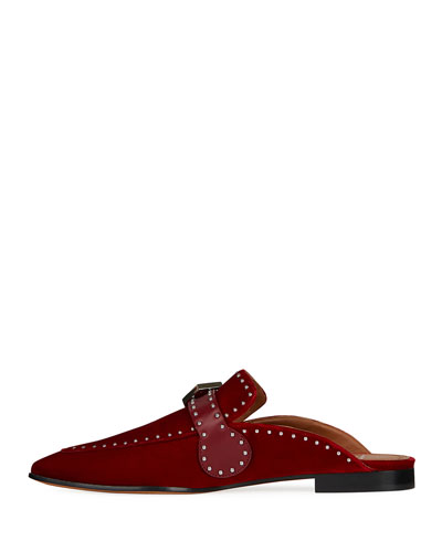 Elegant Studded Velvet Loafer Mule