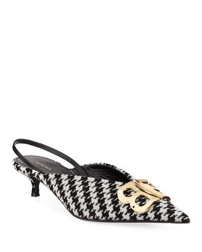 BB Knife Houndstooth Slingback Pumps