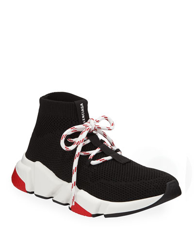 Knit Lace-Up Speed Sneakers