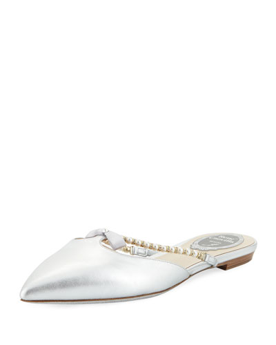 Flat Metallic Leather Mule with Bow