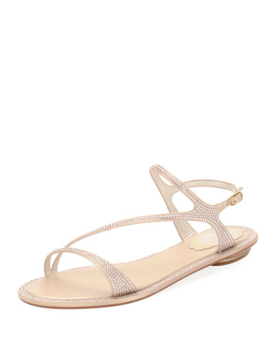 Strass Flat Strappy Sandal, Neutral