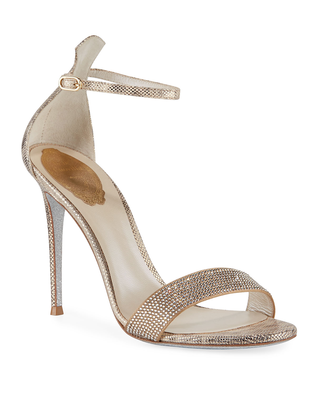 Crystal-Studded Metallic Snakeskin Ankle-Wrap Sandal