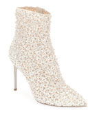 Rene Caovilla Embellished Booties with Golden Beading