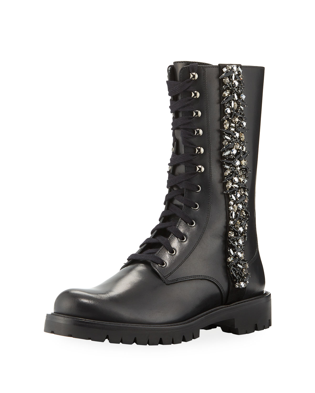 Kadesha Crystal-Embellished Combat Boots