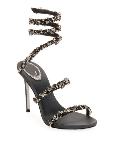 Snake-Coil Sandal with Crystal Detail