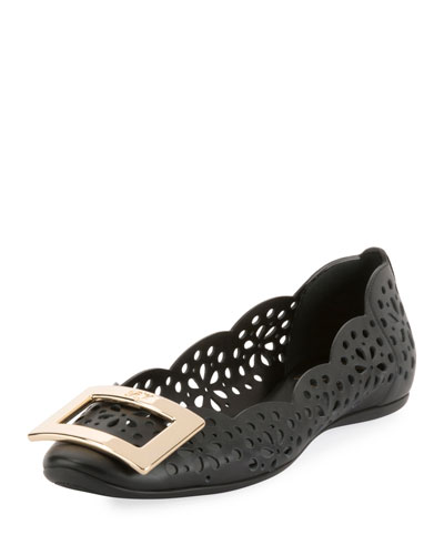 Gommette Perforated Calf Leather Ballerina Flat with Metal Buckle