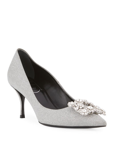 Glitter Fabric Flower-Crystal Buckle Pumps