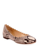 Lauren Python-Embossed Scalloped Ballerina Flat