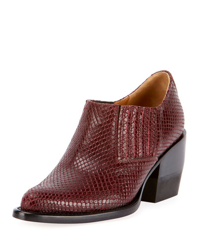 Snake-Embossed Chunky-Heel Ankle Booties