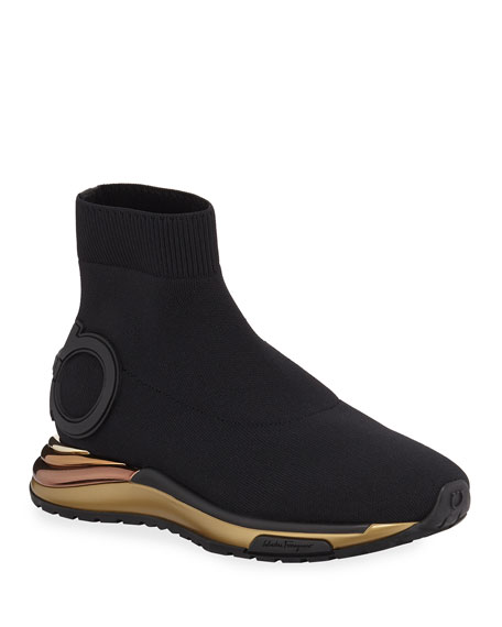 Salvatore Ferragamo Gancini Sock High-Top Sneakers