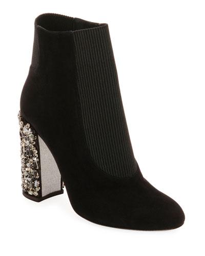 Suede Booties with Crystal Block Heel