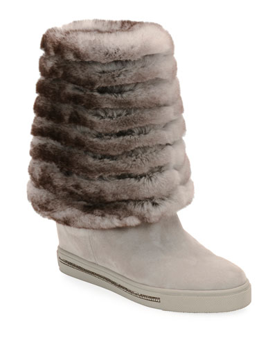 8b29eddc7ab Quick Look. Rene Caovilla · Skiara Suede Wedge Knee Boots with Fur Lining