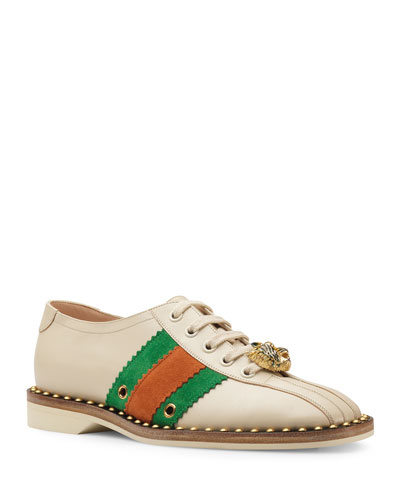 d21d87e1cdc Quick Look. Gucci · Leather Lace-Up Bowling Shoe Sneakers
