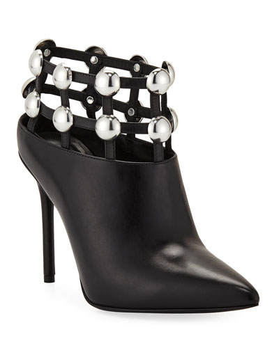 Alexander Wang Tina Leather Studded Grid Cage Booties