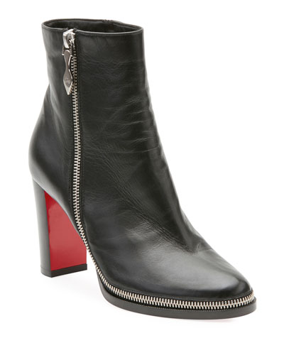 Christian Louboutin Telezip Crinkled Leather Red Sole Ankle Boots