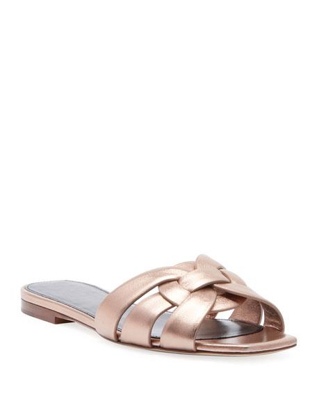 Saint Laurent Nu Pieds Flat Metallic Calf Leather Slide Sandal