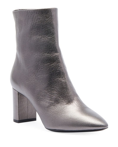 62c0eadfd Quick Look. Saint Laurent · Lou Metallic Leather Low-Heel Booties