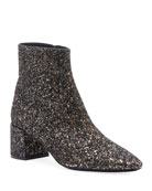 Saint Laurent Loulou Washed Glitter Booties