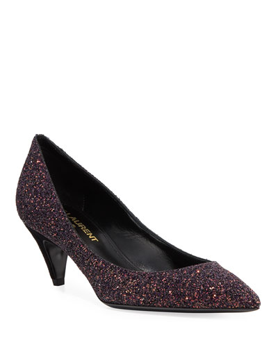 Charlotte Glitter Point-toe Kitten-Heel Pumps