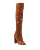 Saint Laurent Ella Studded Suede Knee Boot