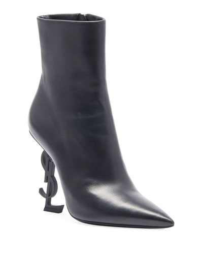 Opyum Leather Booties with Monogram YSL Heel