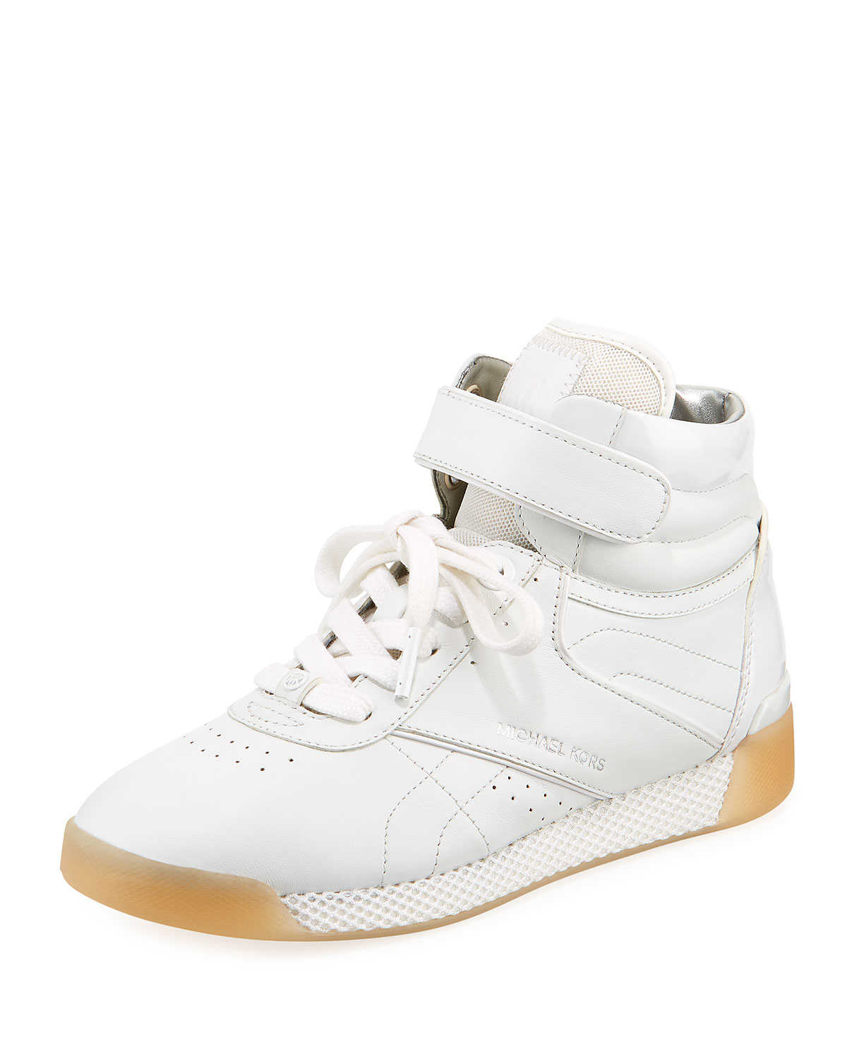Addie High-Top Leather Sneaker, White