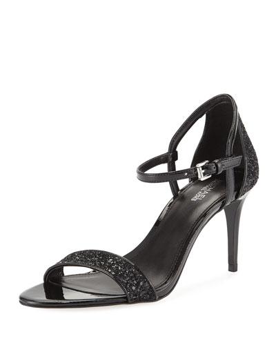 Simone Glitter & Faux-Patent Mid-Heel Sandals