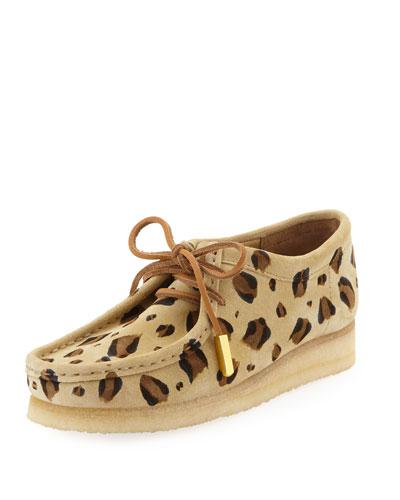 Women's Suede Moc Wallabee Shoe, Leopard Print