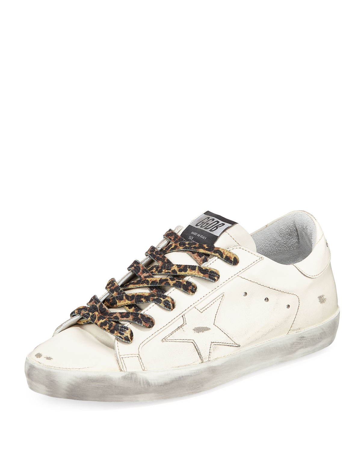 Superstar Leather Low-Top Sneakers With Leopard Laces, Cream Lth Leopard