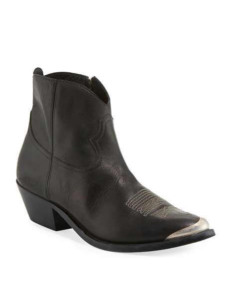 Golden Goose Young Leather Metal-Toe Ankle Boot