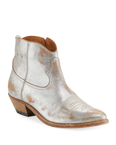 Young Metallic Leather Western Ankle Boot