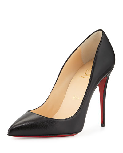 Pigalle Follies Leather 100mm Red Sole Pump, Black