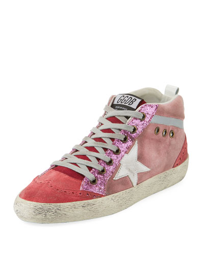 Mid-Top Star Glitter Sneakers, Pink/White