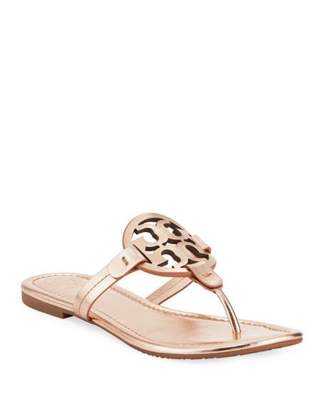Tory Burch Miller Medallion Metallic Leather Flat Slide Sandal