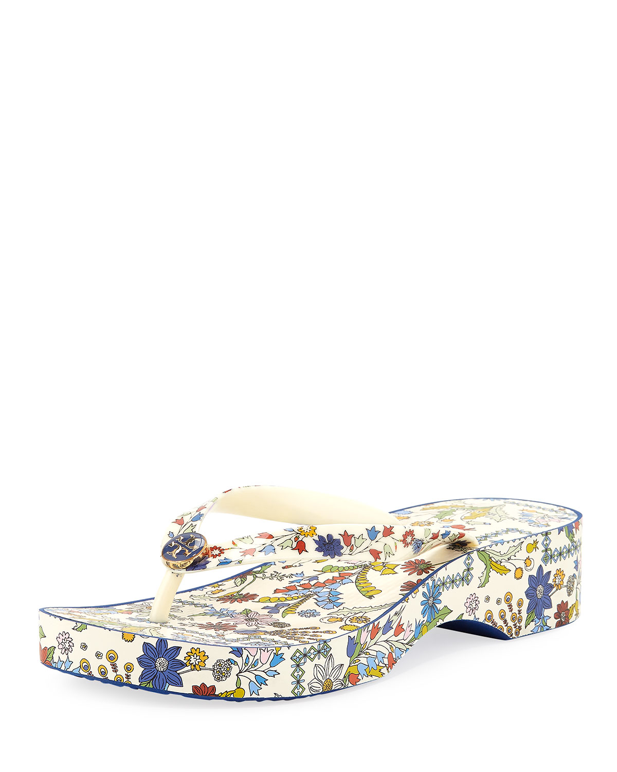 Women'S Printed Cut-Out Wedge Thong Sandals, Ivory Meadow Foll