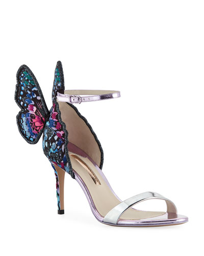 Chiara Embroidered Butterfly Satin Sandal