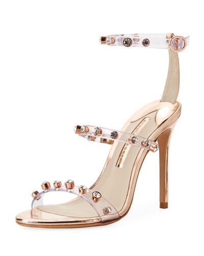 Rosalind Gem Vinyl Ankle-Wrap Sandals