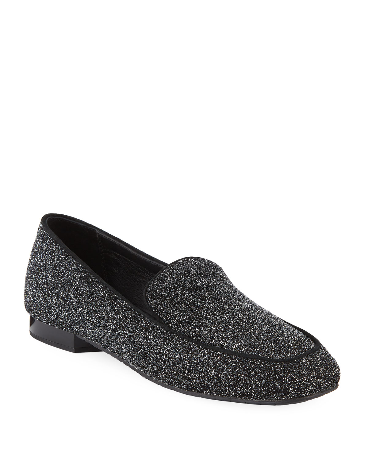 DONALD J PLINER Heddy Glittered Flat Loafers in Silver Glitter Suede