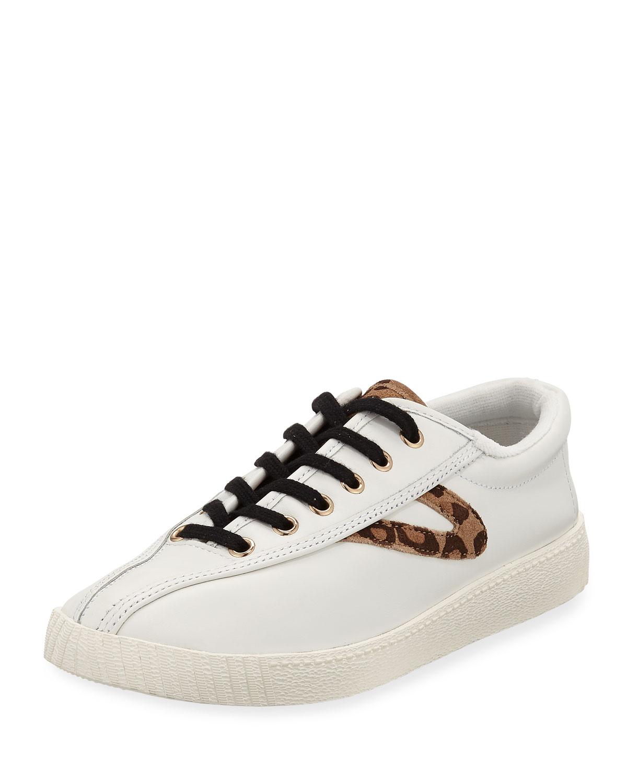 TRETORN Nylite Plus Galaxy Suede Metallic-Star Low-Top Sneakers in Vintage White/ Tan Multi