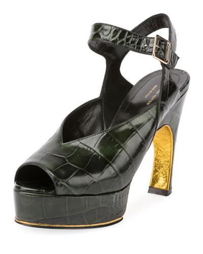 Asymmetric Croc-Print Platform Sandal