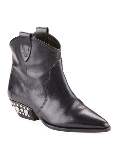 Dawyna Point-Toe Stud-Heel Western Bootie