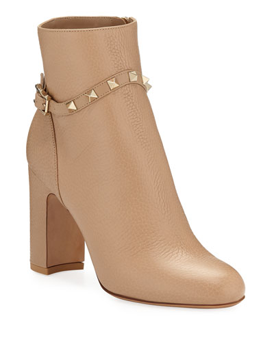 Rockstud Leather Zip Block-Heel Booties