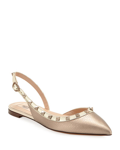 Rockstud Metallic Leather Slingback Ballet Flats