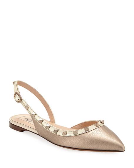 Valentino Garavani Rockstud Metallic Leather Slingback Ballet Flats