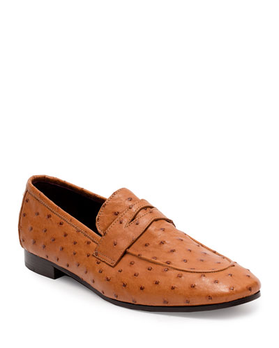 Flaneur Ostrich Penny Loafers, Cognac