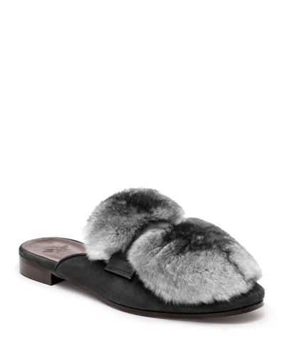 Suede and Chinchilla Fur Loafer Mules